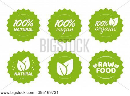 Organic Natural, Vegan And Raw Food Nutrition Icon Label Vector Stickers With Leaves Set, 100 Percen