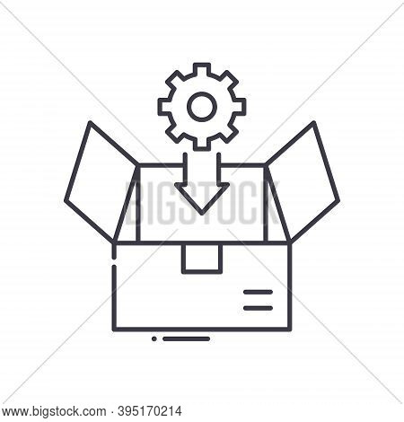 Production Box Icon, Linear Isolated Illustration, Thin Line Vector, Web Design Sign, Outline Concep