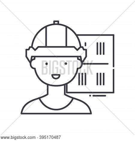 Production Manager Icon, Linear Isolated Illustration, Thin Line Vector, Web Design Sign, Outline Co