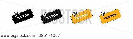 Discount Coupon Vector Icon. Vector Discount Coupons Icons. Coupon Icons In Flat Design. Cut Concept
