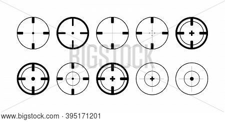 Target. Target Vector Icons, Isolated. Aim Collection. Target Symbols. Aim For Aiming. Vector Illust