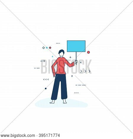Person With Banner For Protest Or Riot. Women Standing And Holding Poster. White Background And Stud