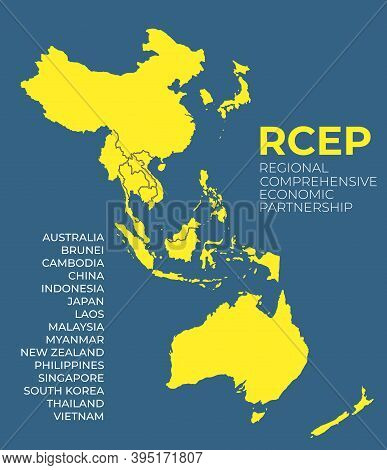 Modern Regional Comprehensive Economic Partnership Rcep Map Background. Vector Illustration