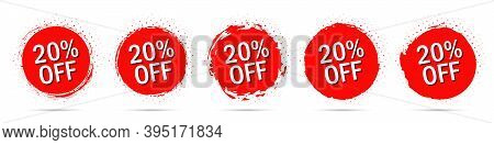 Grunge Discount Stickers Collection With 20 Percent Off In Red With Halftone
