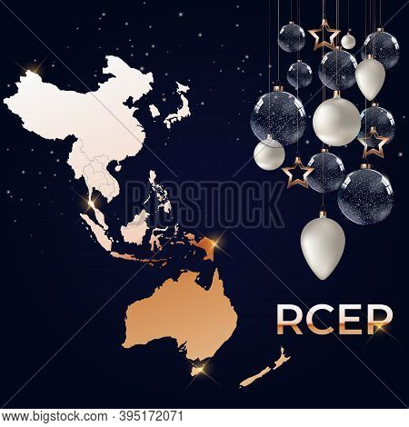 Holiday Concept Modern Regional Comprehensive Economic Partnership Rcep Map. Vector Illustration