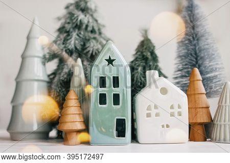 Merry Christmas! Christmas Scene, Miniature Holiday Village With Lights. Christmas Houses And Trees