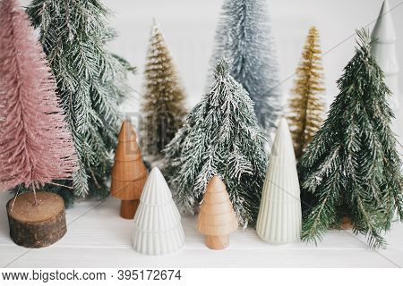 Christmas Scene, Miniature Winter Forest. Christmas Little Ceramic, Wooden And Snowy Pine Trees