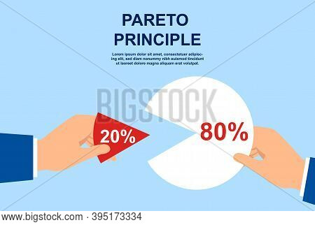 Pareto Principle Abstract Concept. 20 Of Efforts Give 80 Of The Result. Market Share Business. Busin