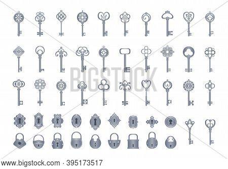 Vintage Keys With Locks Set. Openwork Exclusives To Close Secrets Vintage For Safes Doors Classic Me