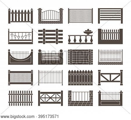 Fence And Barriers Sections Set. Simple Monochrome Rustic Roughly Knitted Together From Boards Woode