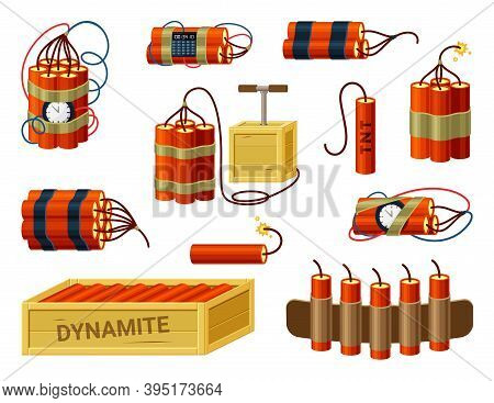 Dynamite Bundles Set. Box With Ready Explosives Cartridge Belt With Miniature Fuses Red Sticks With