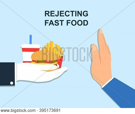 Rejecting Junk Food. Hand Rejecting Fast Food. Offer Fries And A Hamburger In Hand. Stop Fat, Calori