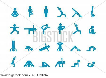 Yoga Human Stick Large Set. Abs Swing And Headstand Graceful Meditation On One Leg Abstract Postures