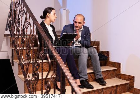 Tired Stressed Businessman Argue With Businesswoman Coworker During Difficult Professional Work Dead