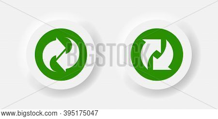 Arrow Rotate Vector Refresh Icon Neumorphism Style Button, Rotation Loop Green Symbol Buttons.