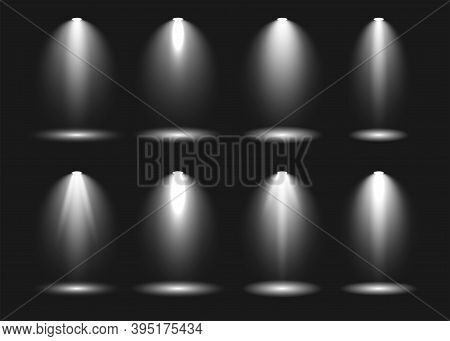 Spotlight Scene Light Effects Collection On Dark Background. Stage Light Spotlights Vector Shine Ill