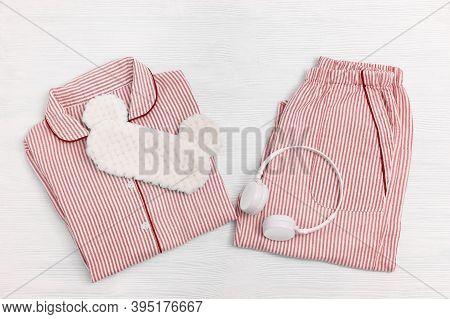 Sleepwear For Slumber. Pink Women Pajama With Stripes, Shirt And Shorts, Headphones. Sleeping Mask O