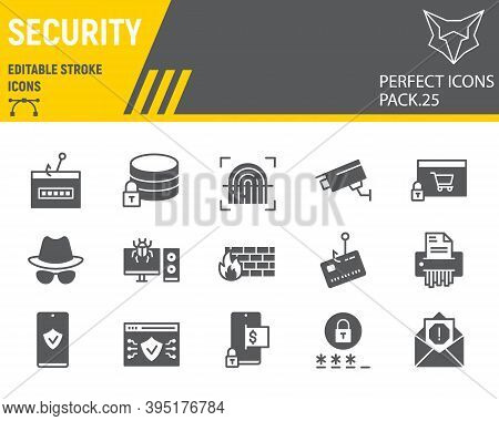 Security Glyph Icon Set, Network Protection Collection, Vector Sketches, Logo Illustrations, Securit