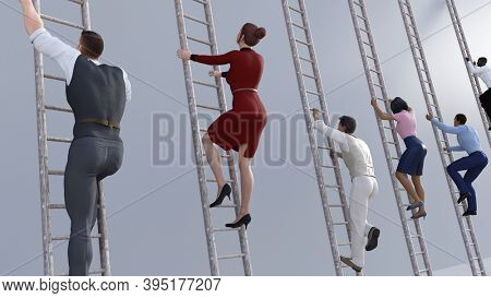 Climbing the Corporate Ladder with Business People as Concept 3d render
