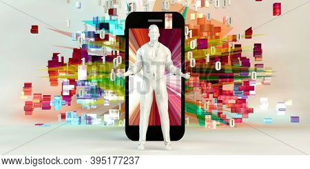 Young Business People Using Smartphone Empowered Technology Concept 3d render
