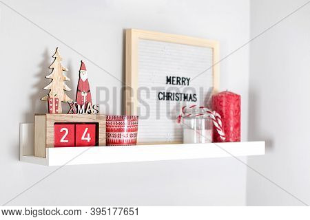 Christmas Decoration Collection On Shelf In Bedroom Or Living Room. Christmas Red Decor, Holiday, Fe