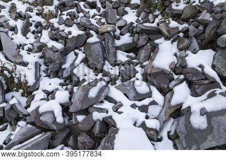Snow Covered Limestone Texture. Aragonese Pyrenees, Aguas Tuertas Valley, Hecho And Anso, Huesca, Sp