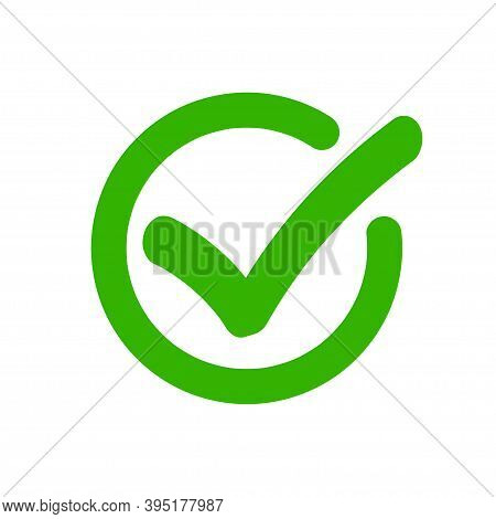 Check Mark Vector Tick Green Icon In Circle Approved Symbol, Checkmark Accepted Vector Illustration