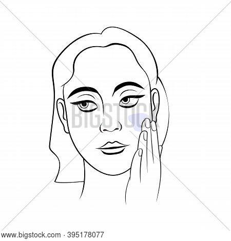 Woman Applying Cream On Face Portrait Vector Illustration