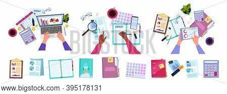 Financial Accounting, Audit Or Budget Planning Set With Hands, Laptop, Office Stationery,tablet, Gra