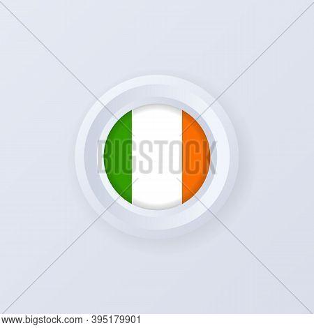 Flag Of Ireland. Ireland Button. Irelandian Label, Sign, Button, Badge In 3d Style. Vector Illustrat