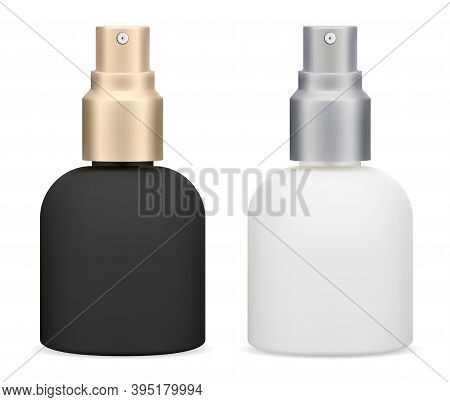 Cosmetic Spray Bottle. Skin Care Hydrating Toner Product, White And Black Packaging With Silver And