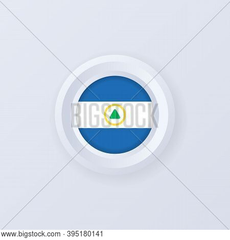 Flag Of Nicaragua. Nicaragua Button. Nicaragua Label, Sign, Button, Badge In 3d Style. Vector Illust