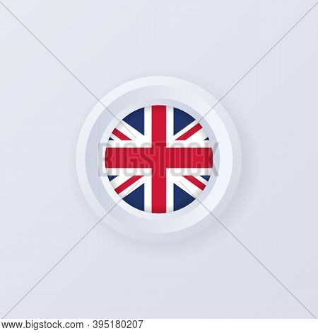 Flag Of United Kingdom. United Kingdom Button. United Kingdom Label, Sign, Button, Badge In 3d Style