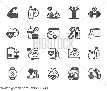 Fitness Time Icons. Bike Workout, Strong Muscle Arm, Gym Fit Dumbbell. Training Analysis, Workout Pl