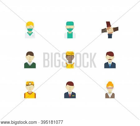 Profession Icons Set. Teamwork And Profession Icons With Safety Worker, Doctor And Hotel Receptionis