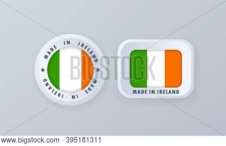 Made In Ireland. Ireland Made. Irelandian Quality Emblem, Label, Sign, Button, Badge In 3d Style. Ir