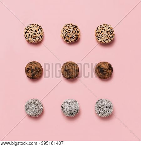 Healthy Natural Candies Homemade From Natural Ingredients, Handmade Energy Ball With Nuts And Dried
