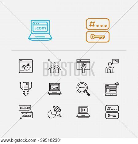 Seo Icons Set. Seo Optimization And Seo Icons With Market Analysis, Seo Copywriting And Social Share