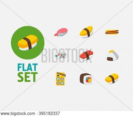 Nutrition Icons Set. Tamago Nigiri And Nutrition Icons With Ebi Nigiri, Unagi Nigin And Onigiri. Set