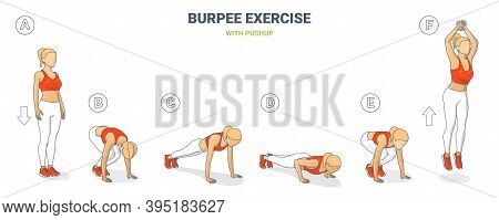 Burpee Girl Exercise Colorful Concept Of Female Home Workout