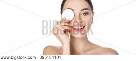 Makeup Remove, Skin Care. Smiling Woman With Cosmetic Cotton Pad Near Her Face, Concept Remove Makeu