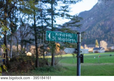 Signpost To The St.magdalena Crossroads In Brannenburg