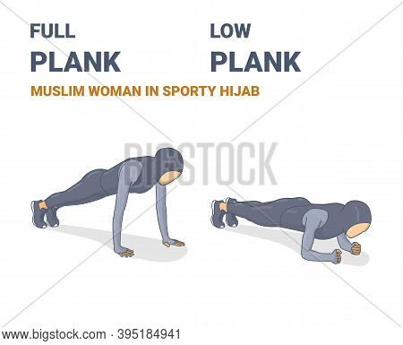 Full Plank And Elbow Plank Muslim Woman In Sporty Hijab Abs Home Workout Exercises Concept.