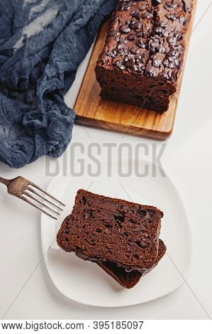 Homemade Moist Chocolate Banana Bread Close Up