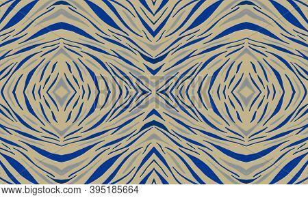 Blue Zebra Skin Pattern. Purple Exotic Wallpaper. Yellow Tiger Skin Print. Seamless Abstract Tribal
