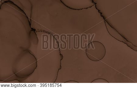 Paint Chocolate Texture. Brown Creamy Background. Color Pastry Pattern. Watercolor Wave Design. Liqu