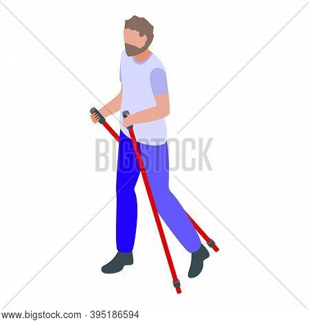 Man Nordic Walking Icon. Isometric Of Man Nordic Walking Vector Icon For Web Design Isolated On Whit