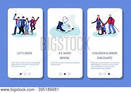 Set With People Skating On The Ice. Mobile App Page Lets Skate, Ice Skate Rental, Children And Sinio