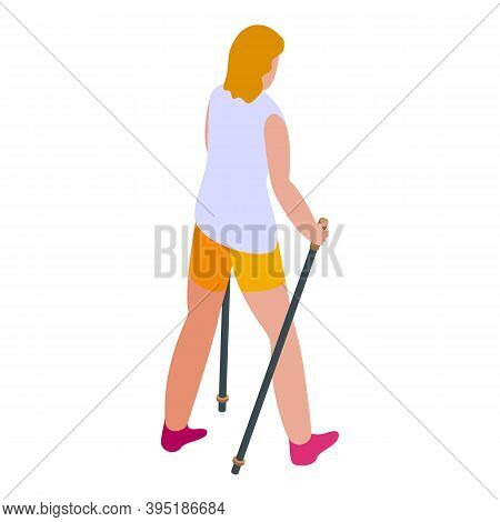 Adult Nordic Walking Icon. Isometric Of Adult Nordic Walking Vector Icon For Web Design Isolated On