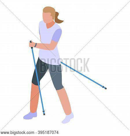 Female Nordic Walking Icon. Isometric Of Female Nordic Walking Vector Icon For Web Design Isolated O